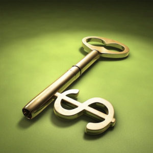 gold key with money sign